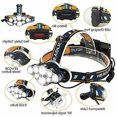 Headlamp, Rechargable 8 Headlight with