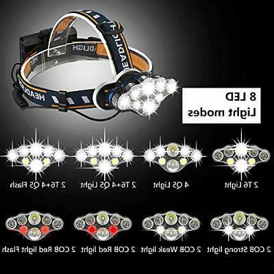 Headlamp, Rechargable Headlamp 8 LED Headlight with Re