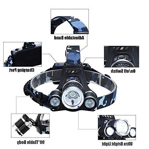 NEWEST Ultra Bright CREE Work Headlight Rechargeable Batteries, Modes IPX4 Head Best Head Lights Camping Cycling