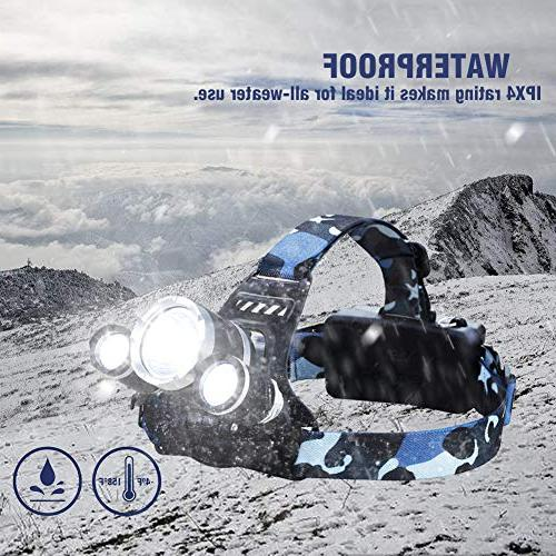 NEWEST Headlamp 8000 Ultra CREE Work Headlight with Rechargeable IPX4 Best Head for Camping