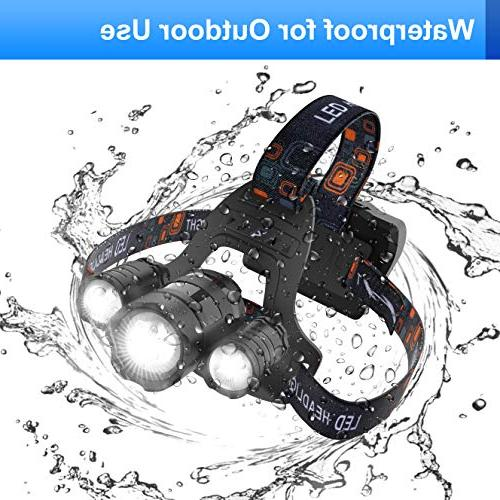 VICTONYUS Headlamps, Head Lamp Flashlight 4 Modes, 18650 USB Rechargeable Waterproof with Zoomable Light for Running, Working