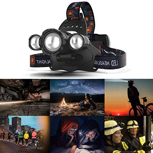 VICTONYUS Headlamps, Head 4 Lighting Modes, with Zoomable Running,