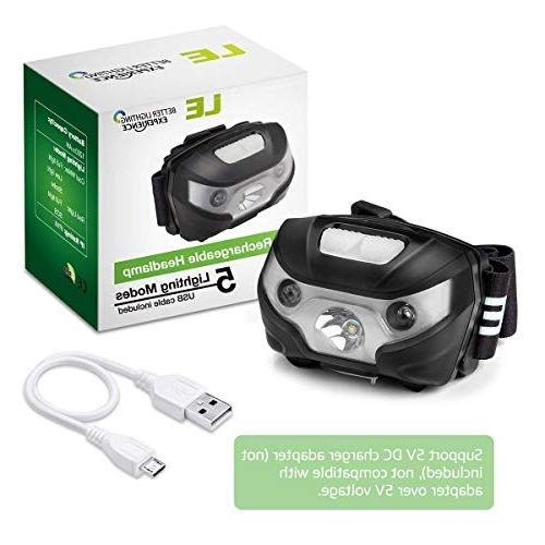 LE Headlamp, 5 Headlight for Outdoor, Running, more, USB