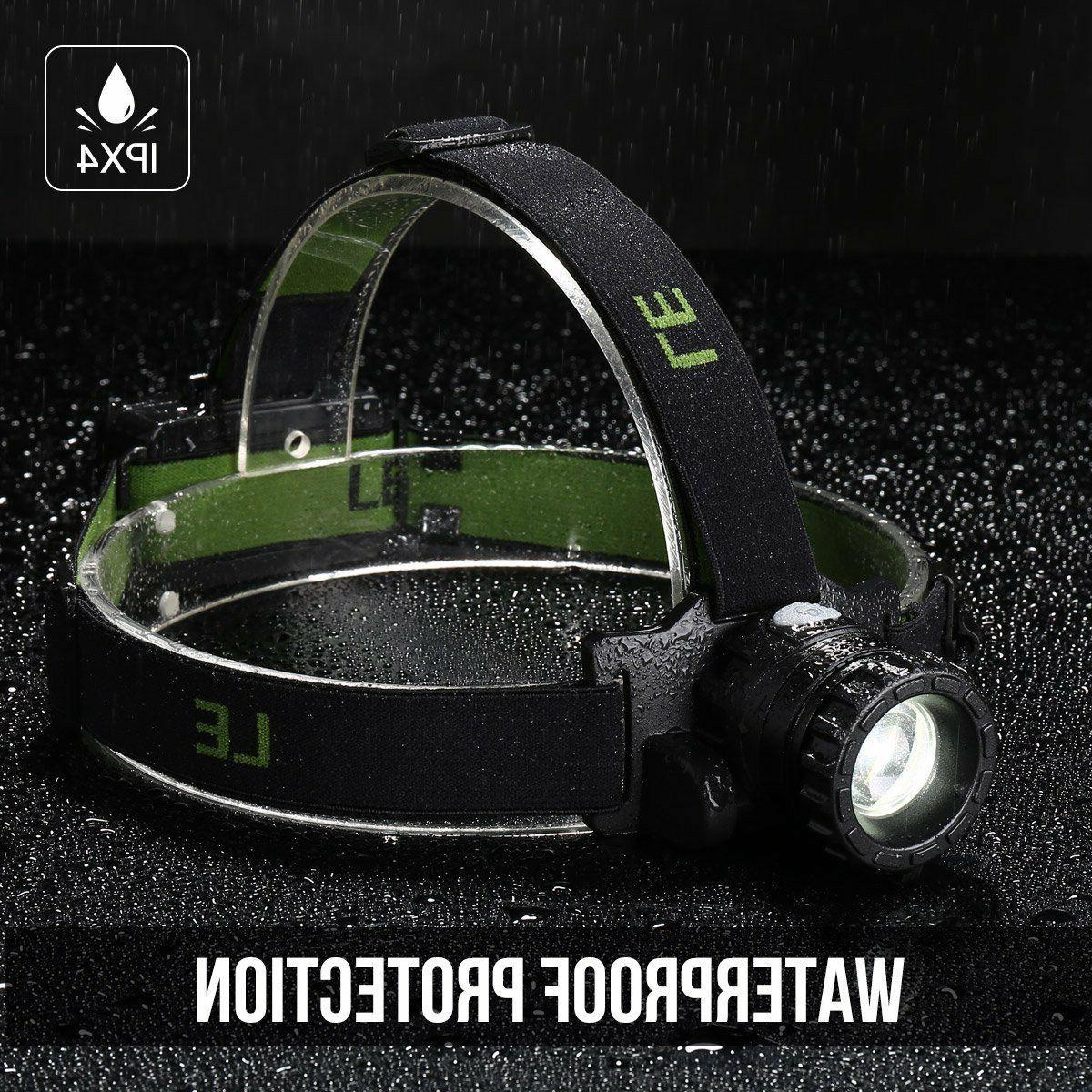 LED Headlamp Flashlight Zoomable Head Band Hands