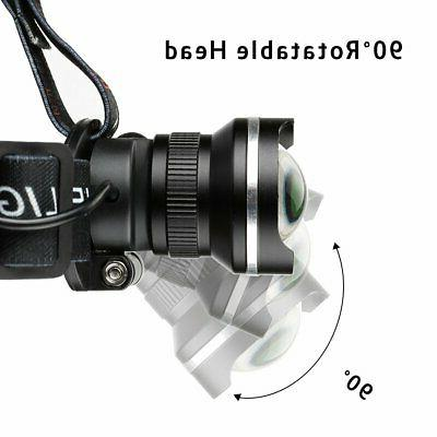 LED Flashlight Zoomable Head Light Waterproof Hands Free Strap On