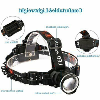 LED Flashlight Zoomable Head Band Waterproof Hands Strap