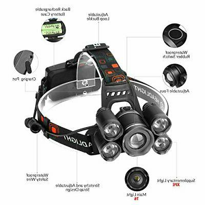LED Headlamps, Super Bright 5 High Lumen Rechargeable Zoomable Waterproof