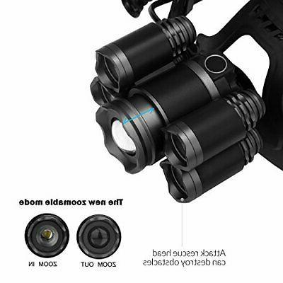 LED Headlamps, Super 5 LED High Lumen Rechargeable Waterproof