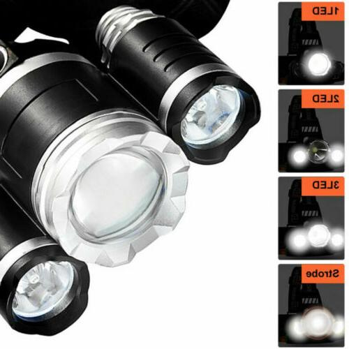 LED Headlight Headlamp Camping Light With Battery Charger