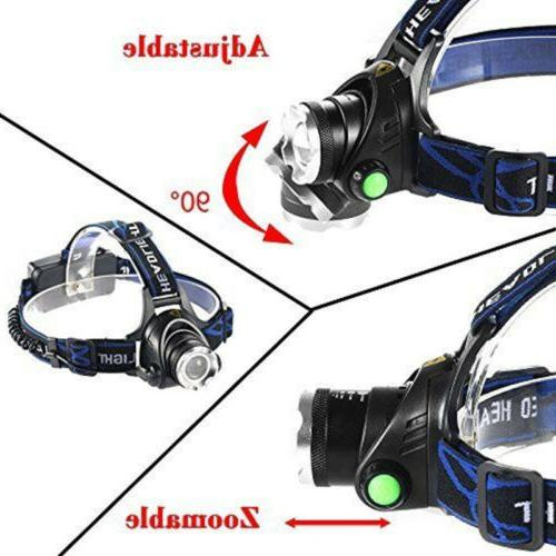 990000LM Head LED Zoomable+2x Charger+18650