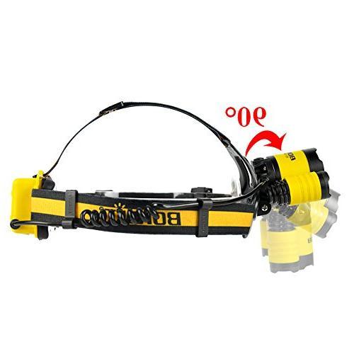 Micro USB Headlamp Upgraded Plus 3x XML Headlight 2x18650 PCB Batteries+Wall Hard Hat Light, Bright Head Camping, headlamps