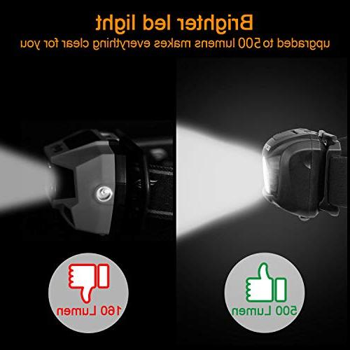 Rechargeable 500 White Cree lamp flashlight and Motion Perfect for Lightweight, Waterproof, Headband, 5 Display Modes