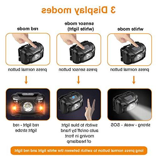 Rechargeable Headlamp, White Cree lamp flashlight and Perfect Hiking, Lightweight, 5 Display