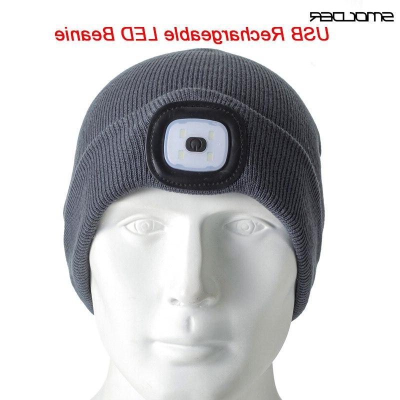 rechargeable usb led light beanie cap warm