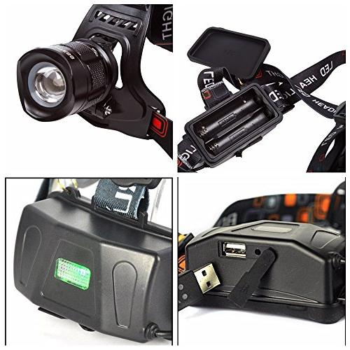 LIGHTESS Lamps Waterproof Zoomable Head Light Lights 5 Modes XM-L2 USB Output Function Hunting, Hiking