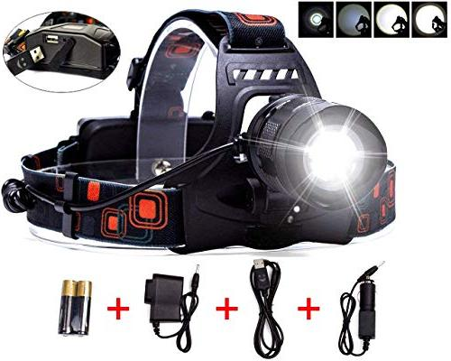 rechargeable zoomable headlamp 5 modes