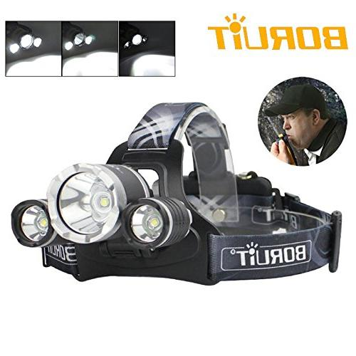 BORUIT RJ-3000 Plus XM-L T6 LED Micro USB Rechargeable Headlamp PCB Batteries