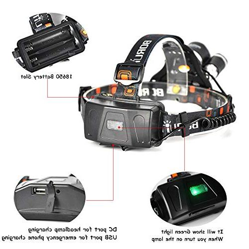 Lumen Headlamp Headlight Head Flaslight Torch Rechargeable Batteries Charger Hunting Riding Night Fishing