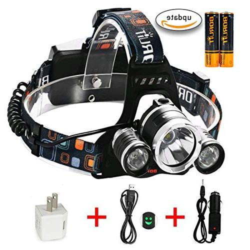 5000 Lumen Led Headlight Flaslight 3 XM-L2 LED Rechargeable and Charger Hunting Riding Night Kids