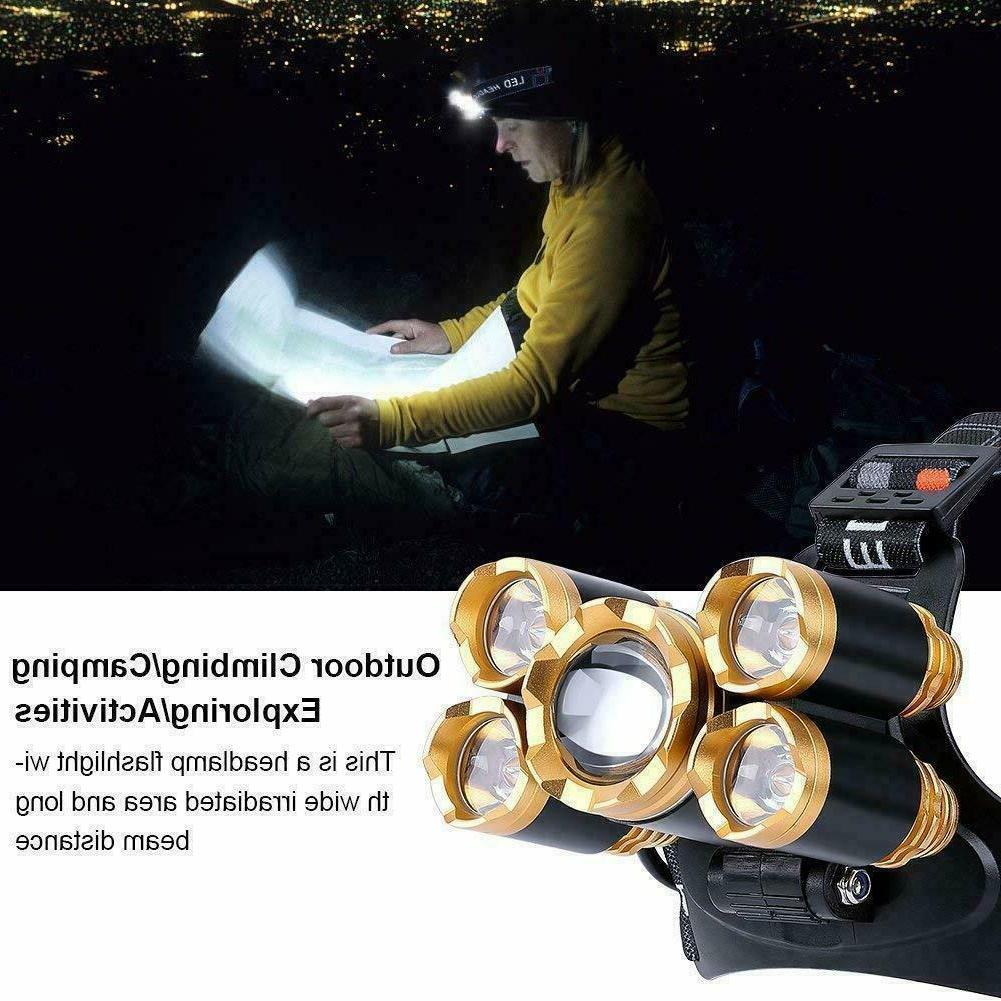 Super-bright 5 XM-L LED Headlamp Headlight Head Torch