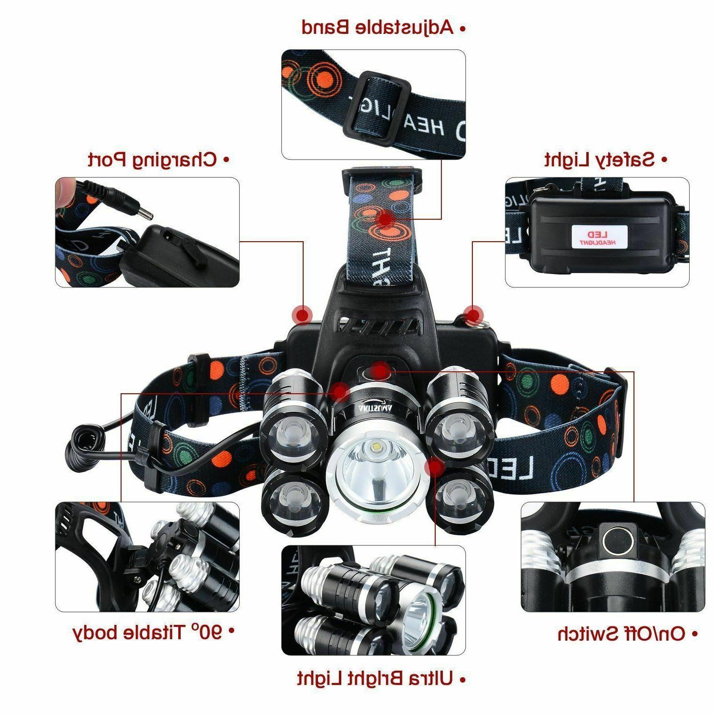 Super-bright 5 X XM-L Headlamp Headlight Flashlight Head
