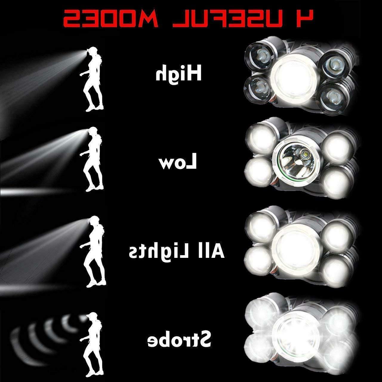 Super-bright 5 XM-L T6 Headlight Head Torch