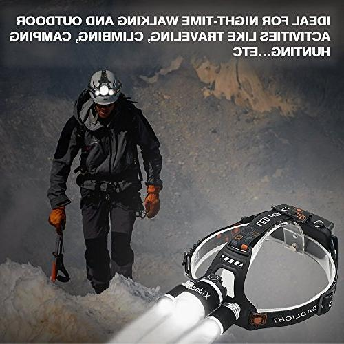 Super Bright Headlamp Lumens Best CREE Rechargeable Batteries,Waterproof Lights for Hiking