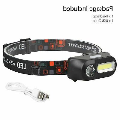 USB Rechargeable LED Headlight Head Torch Flashlight