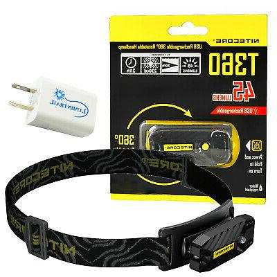 t360 usb rechargeable led headlamp and clip