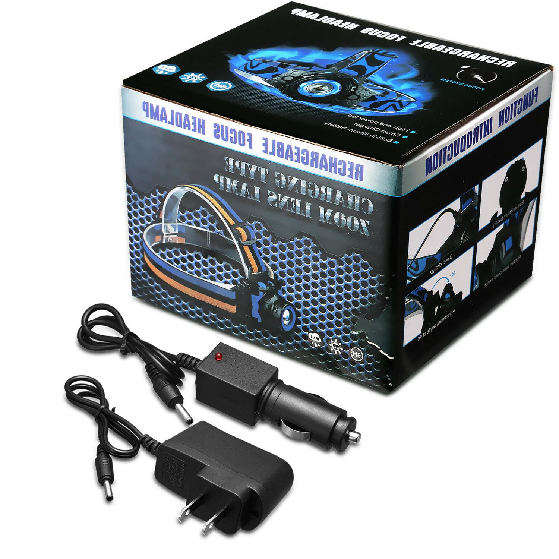 Tactical Headlight Cree 20000LM T6 LED Headlamp+Batt+Charger