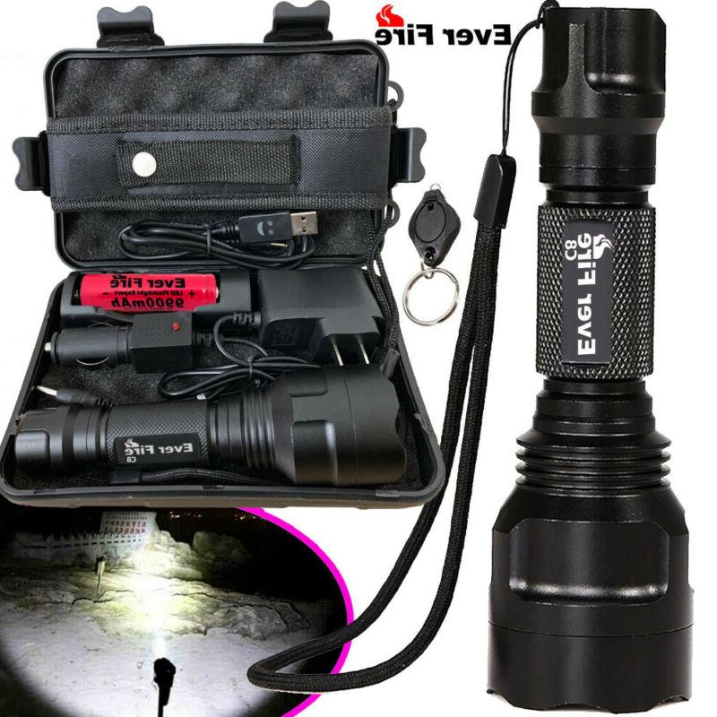 100000LM T6 LED Torch Tactical Military Zoomable Flashlight Headlamp Waterproof