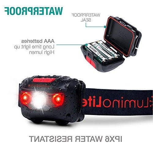 Ultra Bright Headlamp Lumens, 5 Lighting & Red Strap, Resistant. Great Camping, Hiking Included