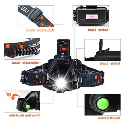 NEWEST Ultra Bright Flashlight,3 IPX4 USB Rechargeable,Cree Head Light Hiking Hunting