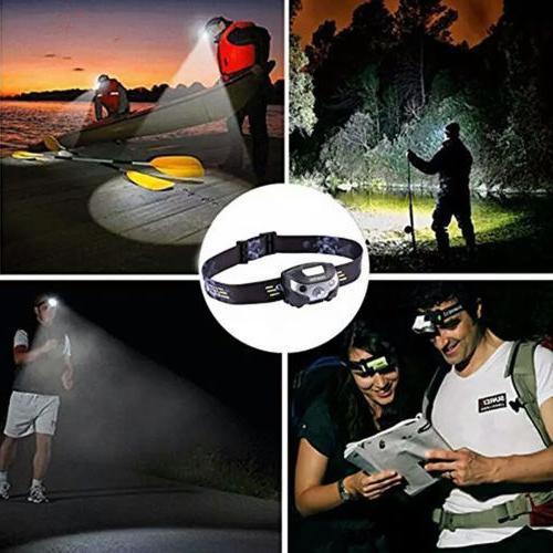 USB Headlight Waterproof Head Hiking Battery