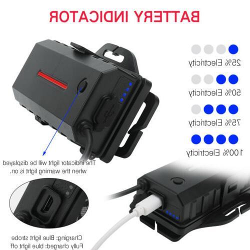 USB Light 3XLED Headlight 2X18650