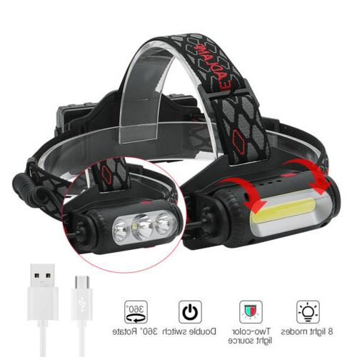 USB Headlamp Light Headlight 2X18650