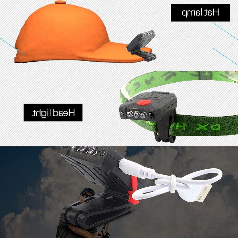 USB Rechargeable Led Lamp Infrared Switch <font><b>Clip</b></font> Cap Head Light For Fishing And