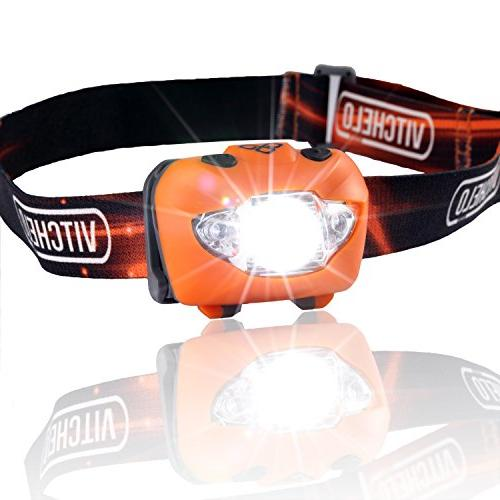 Vitchelo Headlamp Flashlight with Red Orange