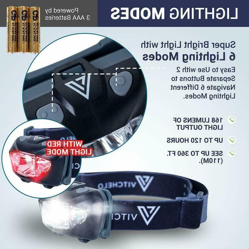 Vitchelo V800 Headlamp With White Red Led Super