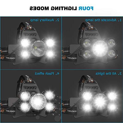 Waterproof 5 Led Headlamp T6+4Q5 Head Lamp Headlight,18650 Batteries, Charger, USB Cable