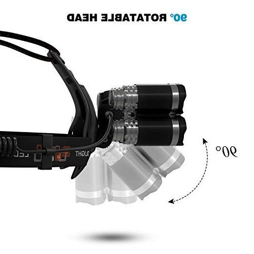 Waterproof Lumen Led Headlamp Headlight,18650 Car Charger, USB Cable