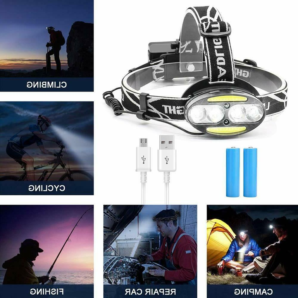 Waterproof USB Rechargeable LED Headlight Lamp Torch Flashlight