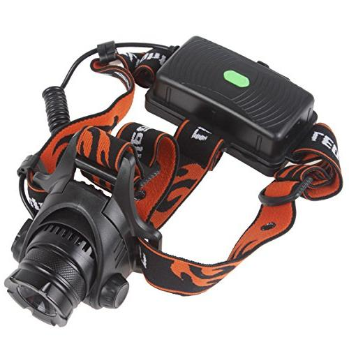 WindFire Waterproof Rotating Headlamp Headlight 18650 Indicator LED Torch Flashlight and Rechargeable batteries