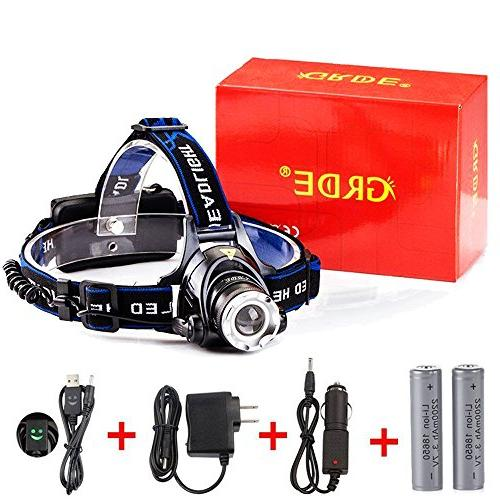 GRDE Zoomable Super Bright LED Headlamp with Charger, Wall USB Cable