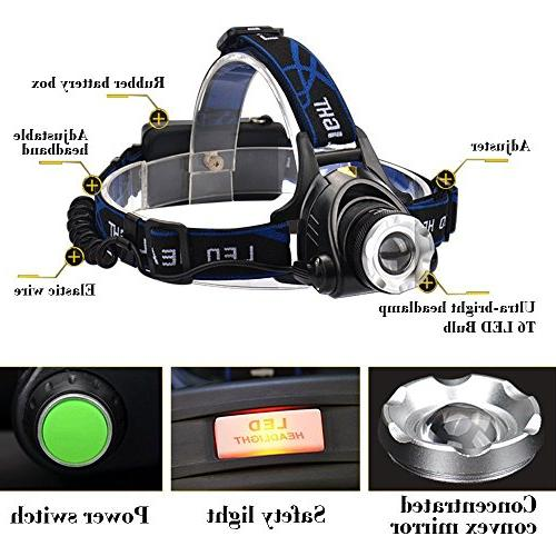 GRDE 3 Modes Super Bright Headlamp with Batteries, Car Charger, USB