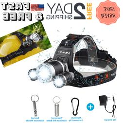 LED Headlamp Flashlight Head Hard Hat Light Waterproof Hunti