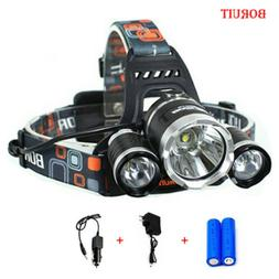 LED Headlamp Rechargeable 3-Mode 5000LM Headlight  Zoomable