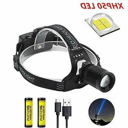BESTSUN LED Headlamp Rechargeable, Super Bright XHP50 3000