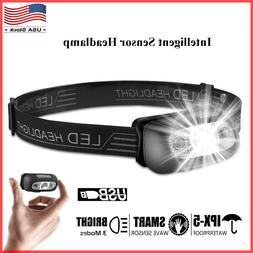 led headlamp usb rechargeable flashlight waterproof head