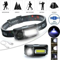 LED Headlamp USB Rechargeable Headlight Waterproof Head Torc